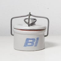 Small Crock with Lid, Bail Top, WireT-bar Latch, French Farmhouse, Kaukhuna Klub, BI, Dairy Butter Crock, BI airlines, tiny crock, 1977