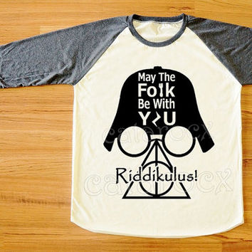 Riddikulus T-Shirt Deathly Hallows T-Shirt Darth Vader Shirt Star Wars TShirt Harry Potter Shirt Long Sleeve Unisex Shirt Baseball Tee S,M,L
