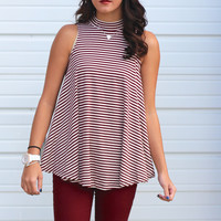 Striped Trapeze High Neck Top {Wine}
