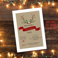 Printable Rustic Christmas Party invitation / DIY rustic Christmas invitaiton / DIY Christmas party invitation / Antler Christmas invite