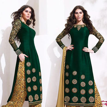 Raw Silk Fabric with Embroidery Work Incredible Unstitched Salwar Kameez