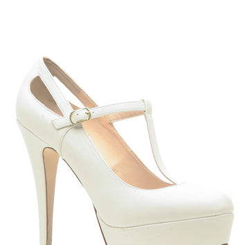 White Faux Leather T Strap Mary Jane Platform Heels