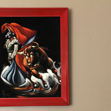 1970's Vintage Black Velvet Matador Bull Fighting Painting