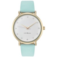 WRISTOLOGY Olivia Womens Chunky Gold Boyfriend Watch Mint Blue Leather Strap