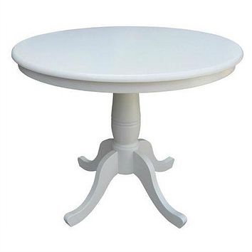 Round 36-inch Solid Wood Dining Table in White with Pedestal Base