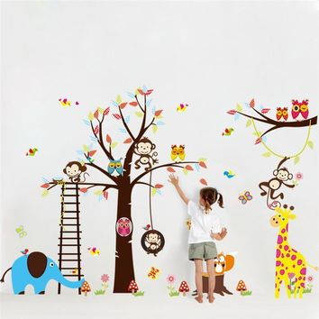 large tree animal wall stickers for kids room decoration 1213. monkey owl zoo cartoon diy children baby home decal mural art 3.0