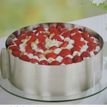 Adjustable Stainless Steel Mousse Ring 6-12 Inch Cake Pan Baking Styling Decorating Tools Set Mould Kitchen Accessories