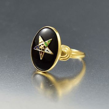 Vintage Black Onyx 1930s Gold Masonic OES Star Ring