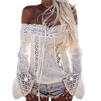 New Arrival 2017 Women Floral Lace Crochet Hollow Out Tops Blusas Boho Ladies Off Shoulder Long Sleeve Party Top Blouse Shirt