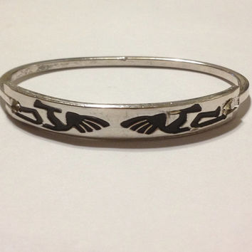 Kokopelli Sterling Cuff Bracelet Mexico Mexican Silver Vintage 925 Jewely Tribal Southwestern Birthday Anniversary Holiday Gift