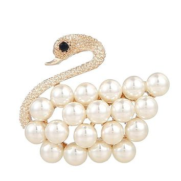 Faux Pearl Decorated Swan Brooch