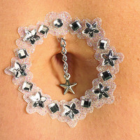 Silver Star Gemstone Sparkle Belly Jewels