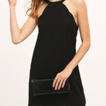 Women's Fashion Black Scallop Trim Cutaway Shift Dress