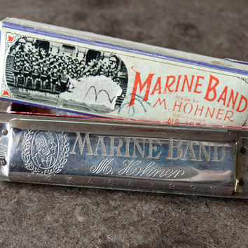 Vintage Harmonica, M Hohner, Marine Band, Original Box, #A440, Germany, Musical Instrument