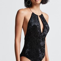 Crushed Velvet Halter Bodysuit