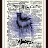 Harry Potter Snape and Lily Patronus Charm Dictionary Art Print