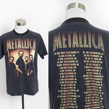 Vintage METALLICA 90s Tee - Original Reloaded Tour Rock Concert Summer 1998 T-Shirt - Medium M