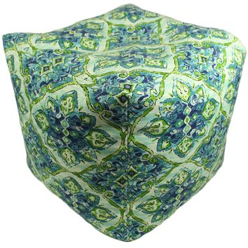 Sea Tiles Indoor/Outdoor Square Pouf Ottoman Cube