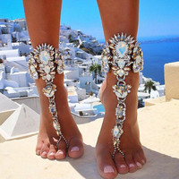 2016 One Pcs Long Beach Summer Vacation Ankle Bracelet Sandal Sexy Leg Chain Female Boho Crystal Anklet Statement Jewelry 3226