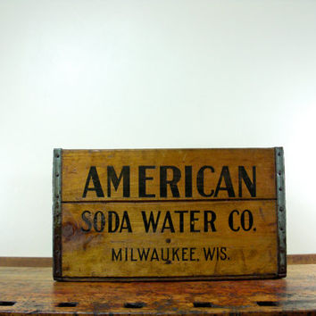 Vintage Wood Crate, American Soda CO, Milwaukee WI, Wooden Crate