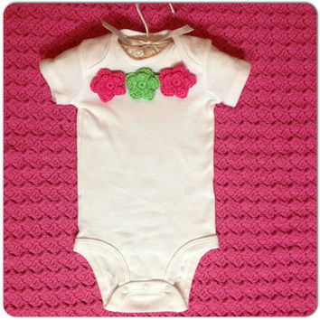 Baby Girl Flower Onsie Infant Clothing MORE COLORS, Sizes nb-12 months (0-3 mo. shown) Spring Fashion, Newborn Clothes