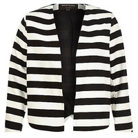River Island Womens Black white stripe structured cropped jacket