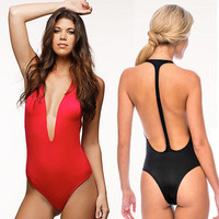 Red Black Women Deep V One Piece Swimsuit high waisted bathing suits Sexy Swimming suit for women swimwear bikini 2015 TQ41431