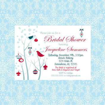 Winter Birds Snow Bridal Shower Invitation. Christmas Wedding Shower.  Red and Blue Bridal Shower Invite.