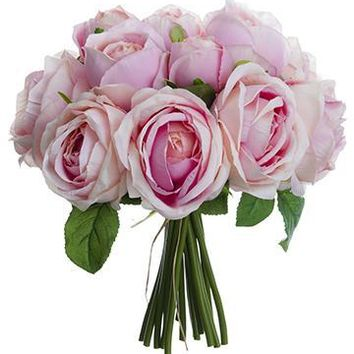 """Silk Rose Bouquet in Pink - 10"""" Tall"""