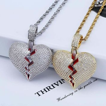 TOPGRILLZ Solid Broken Heart Lced Out Necklace & Pendant Charm For Men Women Gold Color Cubic Zircon Necklace Hip Hop Jewelry