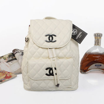 shosouvenir :CHANEL Women Fashion College Leather Shoulder Bag Satchel Bookbag Backpack