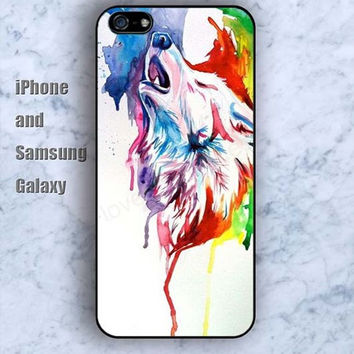 Watercolor colorful wolf iPhone 5/5S case Ipod Silicone plastic Phone cover Waterproof
