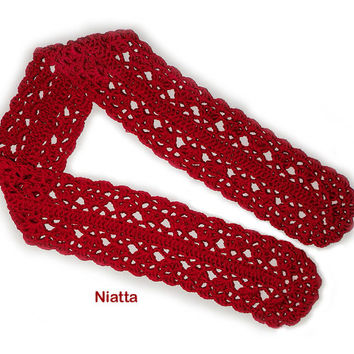 Lacy Red Scarf / symmetrical romantic warm crochet Women Accessory Niatta