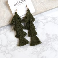 Tiered Earring, Olive