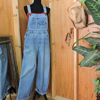 Overalls / size M / L / 90s grunge / womens light wash bib overalls / S. L. A. / denim bib over all jeans