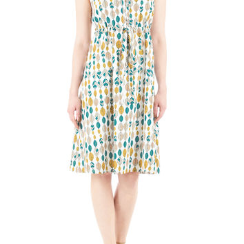 Graphic leaf print drawstring waist dress