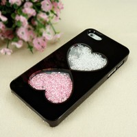 Double Hearts Dancing Diamond Case for iPhone 4 / 4S