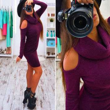 2016 Autumn Bow Long Sleeve Strapless Midi Sexy Club sheath Bodycon Dress Gray Red Green Women Elastic Elegant Party Dresses