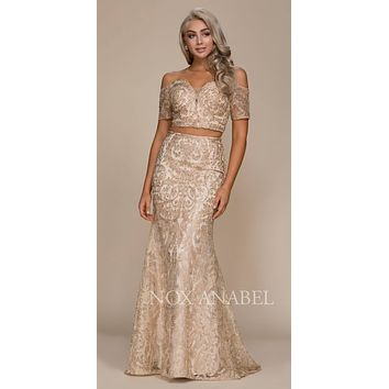 Off Shoulder Two Piece Mermaid Prom Gown Gold