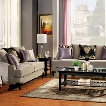 Furniture of america SM2205 2 pc vittoria collection cocoa brown fabric upholstered sofa and love seat set
