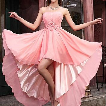 [89.99] Alluring Chiffon Hi-lo A-line Homecoming Dress - Dressilyme.net