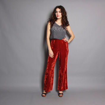 70s VELVET BELL BOTTOMS / Rust Crushed Velvet High Waist Pants, s