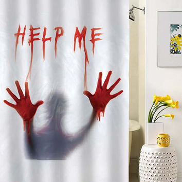 Add Halloween thrills and chills to your bathroom with this Help Me Halloween Shower Curtain. Inspired by the infamous shower scene from Alfred Hitchcock's classic horror film Psycho, this real shower curtain features a chilling image that is reminiscent of the film/5(8).