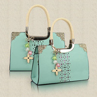 Elegant Floral Cutout Candy Color Handbag