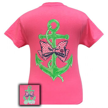 Girlie Girl Originals Anchor Bow Pearls Pink Bright T Shirt