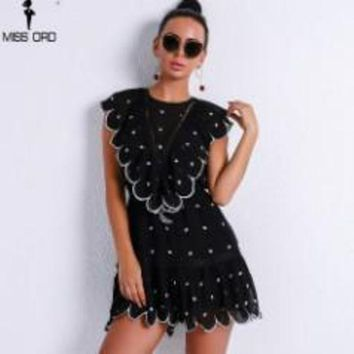 ONETOW missordWomen Elegant o neck see through overalls embroidery dot rompers playsuit ft9238