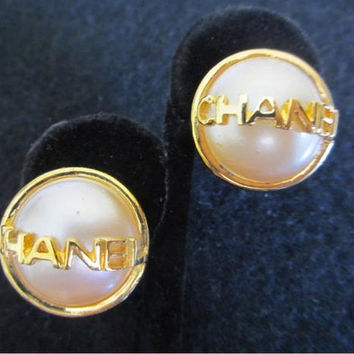 Authentic Vintage Faux Pearl CHANEL Earrings