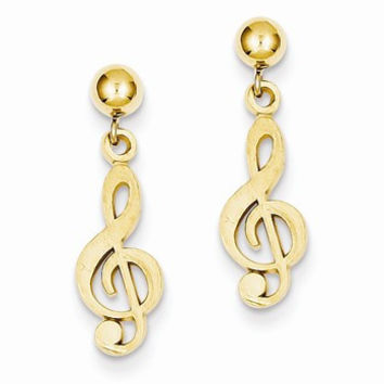 14k Yellow Gold Polished Diamond-Cut Treble Clef Dangle Post Earrings