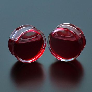 Red Liquid Blood Acrylic Double Flared Saddle Ear Gauges 2PCS