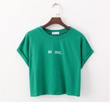 merry pretty new summer harajuku cute women t shirt letter print cotton crop top green t shirt short sleeve girl tshirt tops tee